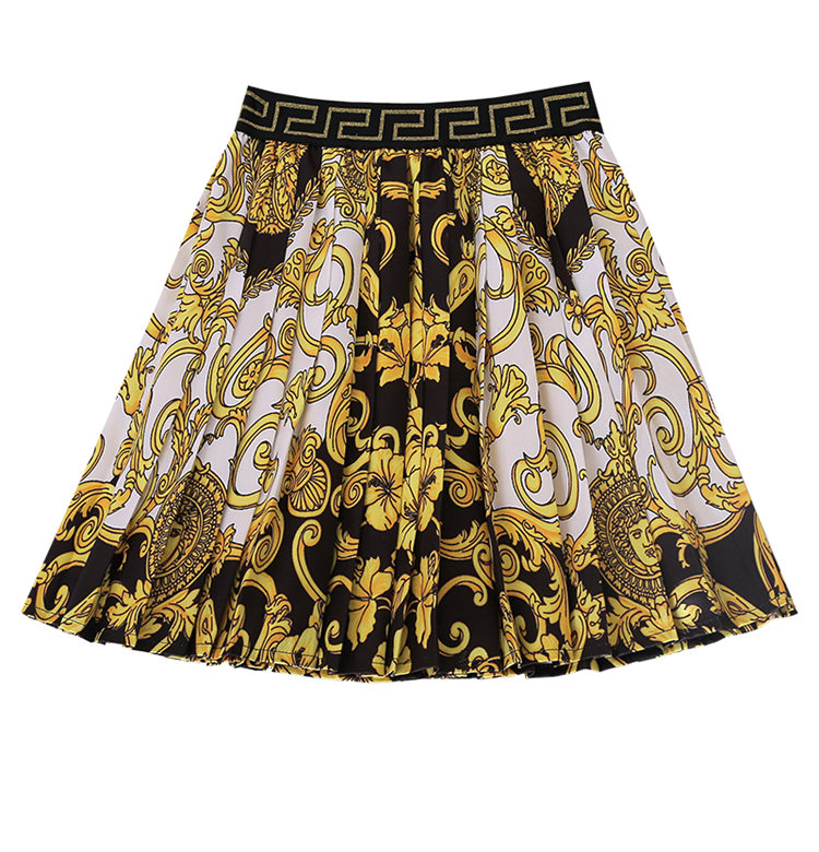 Summer new fashion vintage high waist court style printed pleated skirt Wholesale dropshipping skirt are both welcomed