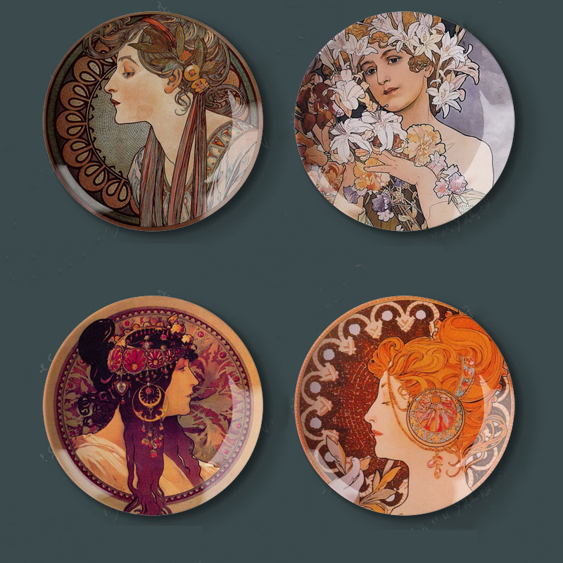 8  Plates Alphonse Maria Mucha Art Nouveau Paint Wall Hanging Home Hotel Decorative Dishes Plates-in Bowls u0026 Plates from Home u0026 Garden on Aliexpress.com ...  sc 1 st  AliExpress.com & 8