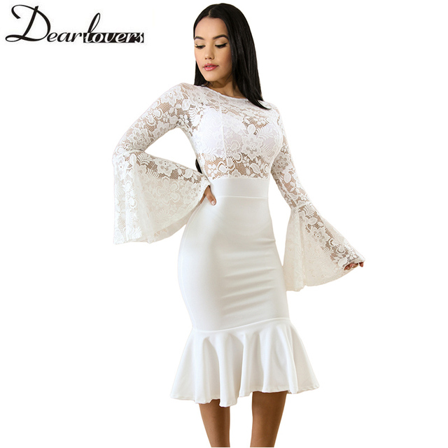 393e9bd050a Lace Midi Dress Elegant Mermaid Bodycon Dress White Flare Long Sleeve  Spring Hollow Out Sexy Party Dress LC61915