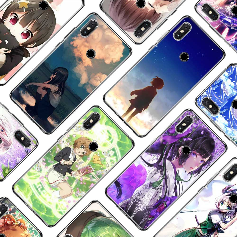 Transparent Soft Silicone Phone Cases Sweet Anime Girl for Xiaomi A1 A2 8 Redmi Note 4X 4 5 6 5A 6A S2 Pro