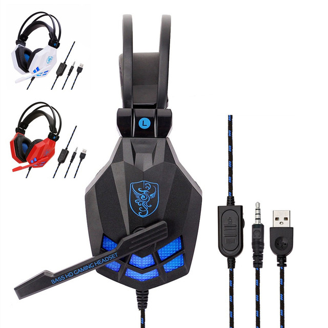 Wired Gaming Headsets Big Headphones with Light Mic Stereo Earphones Deep Bass for PC Computer Gamer Laptop PS4/XBOX ONE/IPHONE