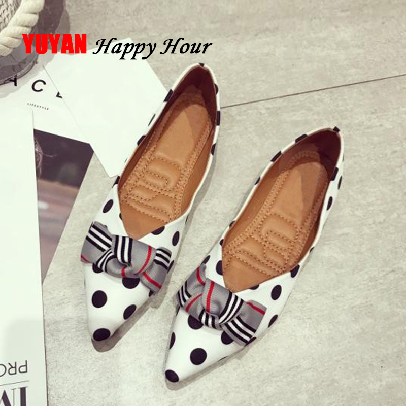 Fashion Womens Polka Dot Flats Pointed toe Big Size Women Boat Shoes Women's Flats Office Ladies Brand Shoes YX027 new arrival soft leather shoes women flats fashion design square toe comfortable women s flats office ladies brand shoes