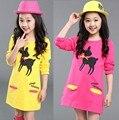 35% новый стиль Дети больше девушки Весна Осень напечатаны олень длинный рукав длинный длина О-Образным Вырезом футболка 3 цвета