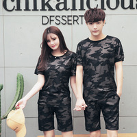 New Arrive 2PCS Summer Camouflage Tracksuit Men O Neck Sets T Shirt Shorts Causal Male Suits