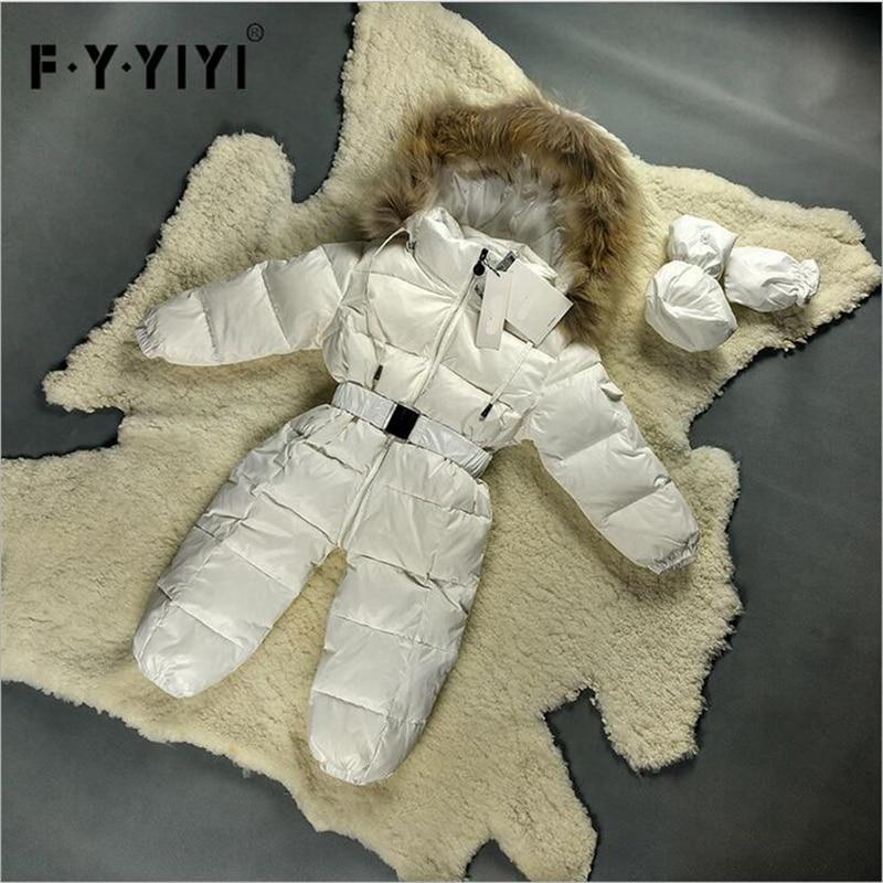 6 Colors Babys Rompers Racoon fur collar 90% duck down Romper+Gloves+feet set infant jumpsuit children casacos snowsuit racoon dog fur down jacket