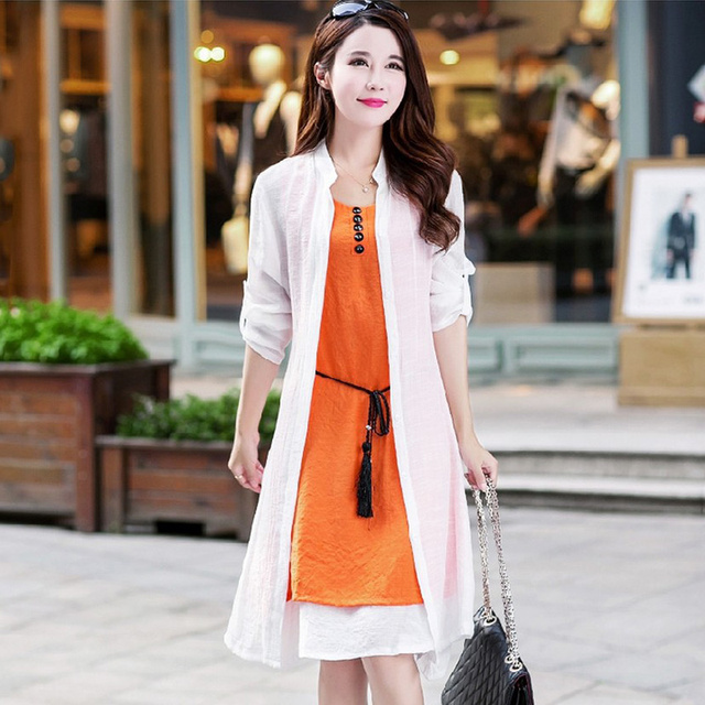 2017 Summer Most Popular New Product Elegant Girl Chinese Style Sun Block Shirt Dress Suits Women Cotton And Linen Dress Suit