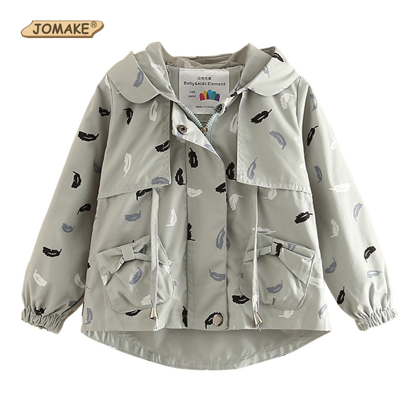 JOMAKE Children Outerwear&Coats 2018 New Brand Autumn Girls Clothes Feather Printed Teenager Kids Hooded Jackets Windbreaker