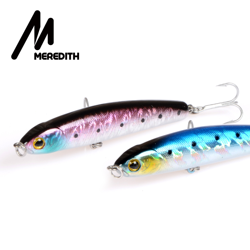 Meredith Lures Fishing 1st 12.7g 80mm Langsom Sinking Pencil Minnow Fishing Hard Artigicial Bait Wobblers Kroge Carp Fishing