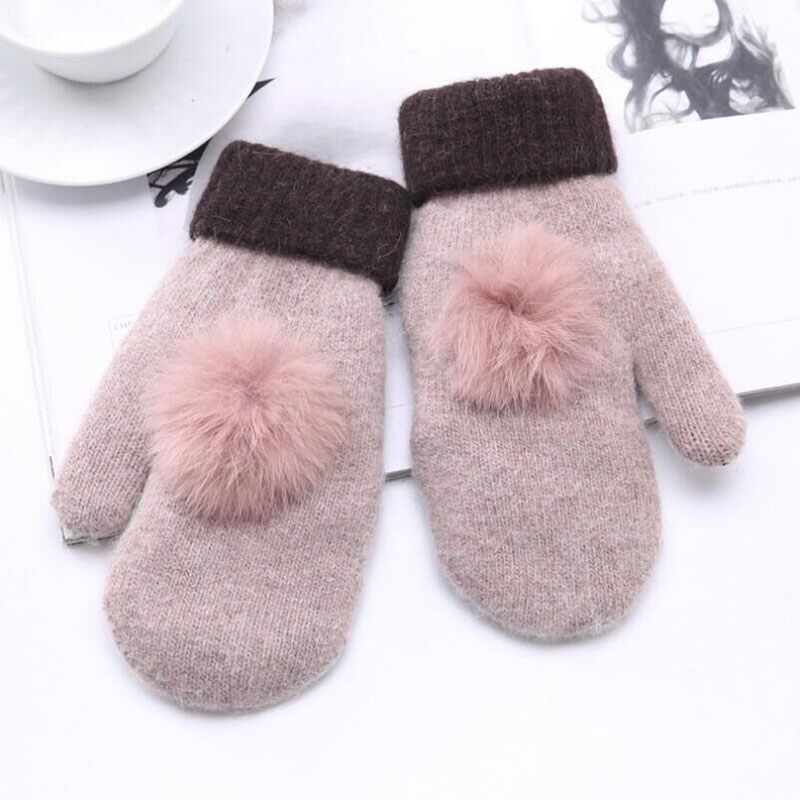 SUOGRY 1 Pair Fashion Women Thicken Crochet Gloves Fingerless Knitted Woolen Arm Knit Gloves Full Finger Mittens Winter