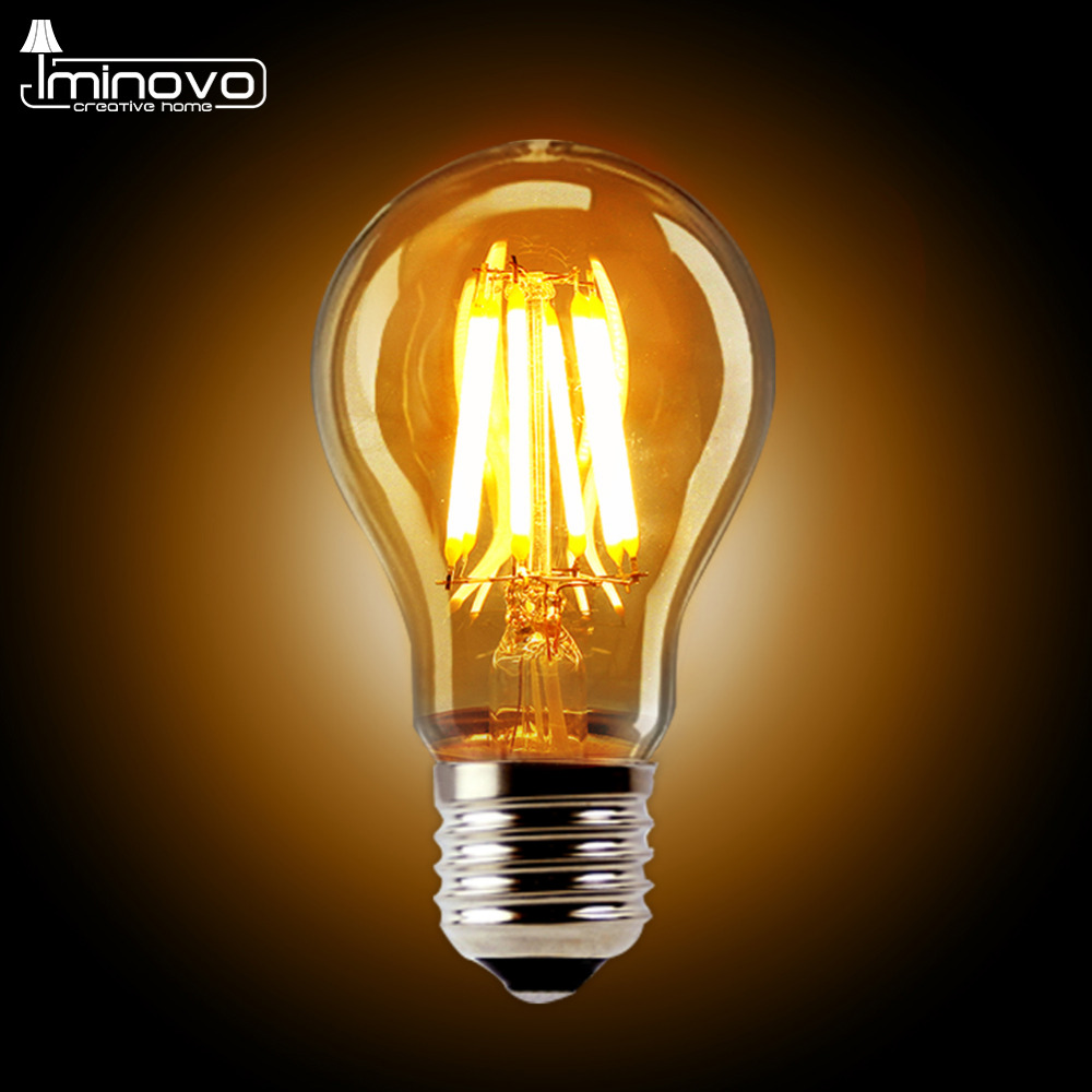IMINOVO 10pcs Retro LED Filament Bulb Light E27 A60 Dimmable 4W 6W 8W 110V 220V Replace 20W 40W 60W Incandescent Lamp Lighting 5pcs e27 led bulb 2w 4w 6w vintage cold white warm white edison lamp g45 led filament decorative bulb ac 220v 240v