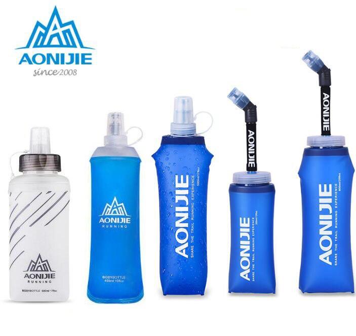 Spor ve Eğlence'ten Spor Şişeleri'de AONIJIE 450ML 500ML spor BPA ücretsiz katlanabilir katlanabilir yumuşak su torbası su şişesi su ısıtıcısı şişesi suluk mesane title=