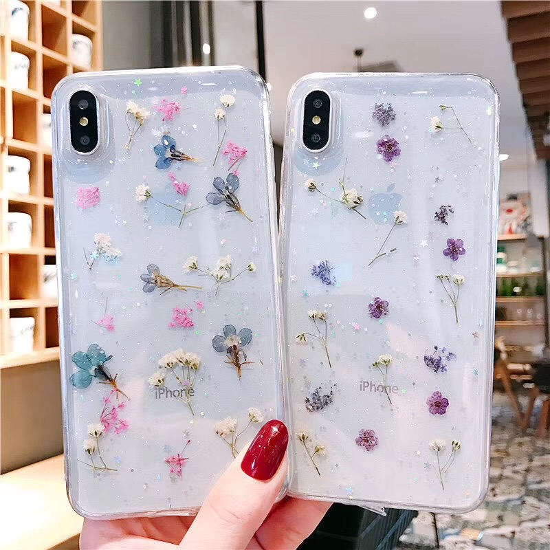 Tfshining Real Dried Flowers Case For Phone X 6 6S 7 8 Plus XS XR Max Transparent Soft TPU Silicone Conque Gift Girl