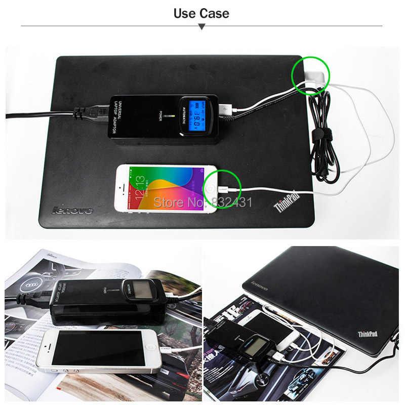 Adaptador universal esperto do portátil do carregador da c.a. do lcd da terceira geração para hp/dell/samsung/lenovo/asus/acer caderno com usb para o telefone