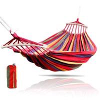 Outdoor Canvas Hammock Leisure Camping Hammock Portable Furniture Garden Swing Chair Hanging Bed Bent Wooden Stick Stable Hamak