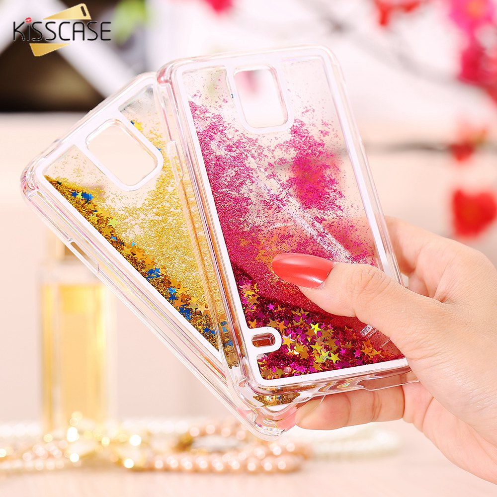 KISSCASE Liquid Quicksand Glitter Case For Samsung Galaxy S6 Edge Plus S5 S3 Note 4 5 Hard PC Cover Case For Samsung A3 A5 Coque