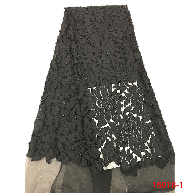 Onion Latest Nigerian Tulle Lace 2019 French Net Beaded Lace Fabric For Nigerian Wedding Embroidery African Lace Fabric 1691B-4 1