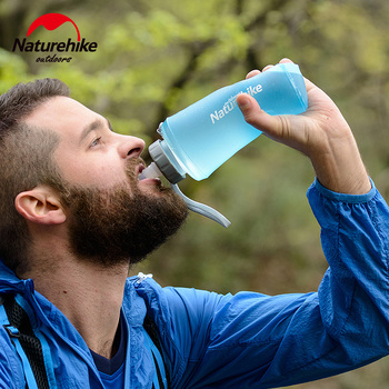 NatureHike 750ML Sport Bottle Water Bottles Outdoor Cup Portable Silicone Folding Drinkware With Straw Bicycle Water Bottle