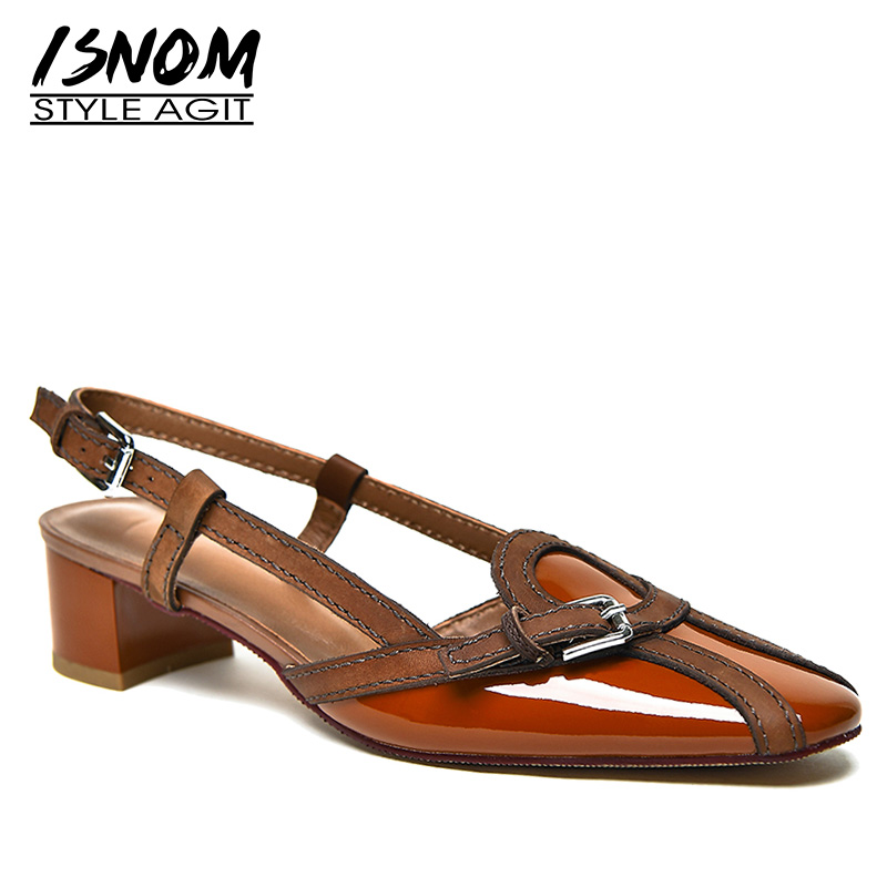 ISNOM Thick Med Heels Sandals Women Square Toe Footwear Stitching Leather Sandals Shoes Female Office Shoes