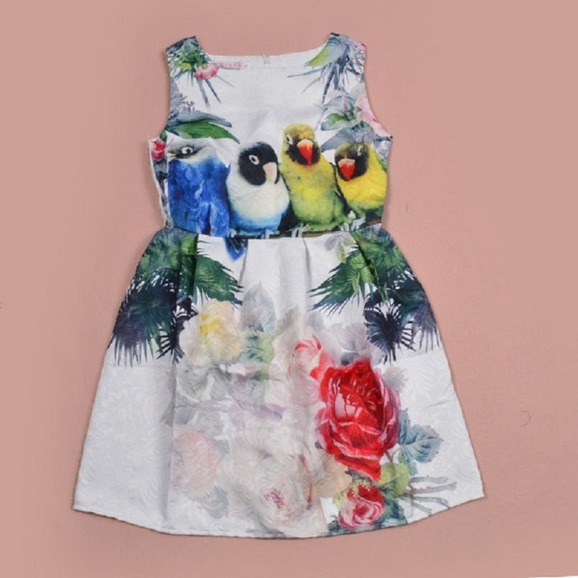 7fdfa8b5675a Summer Girl Dress Animal parrot Pattern Print Party Casual Dresses ...