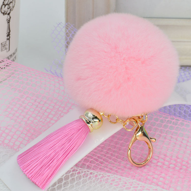 8cm Rabbit Fur Fluffy Keychain Keyring Bunny Fur Ball Pompom Auto Key Chain Ice Tassel Llavero Women Puff Charm Bag Pendant