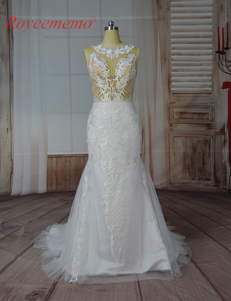 2017 hot sale sexy skin color tulle transparent top Wedding Dress real image factory made wholesale price wedding gown