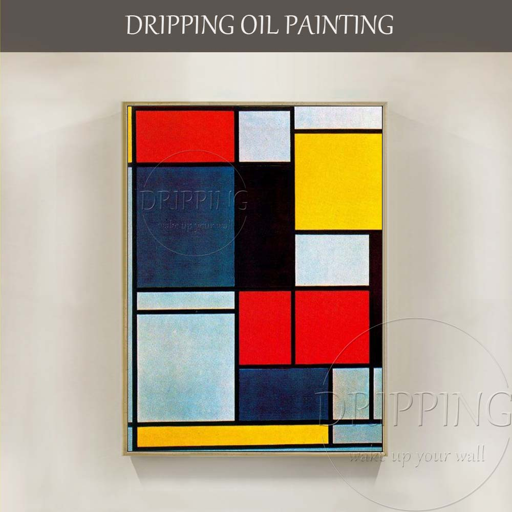 Simple Design Artist Hand painted Geometry Oil Painting on Canvas Abstract Modern Block Geometry Oil Painting for Living Room
