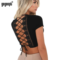 Gagaopt 2017 Summer T Shirt Women Back Hollow Out Lace Bandage O Neck Crop Tops Vintage