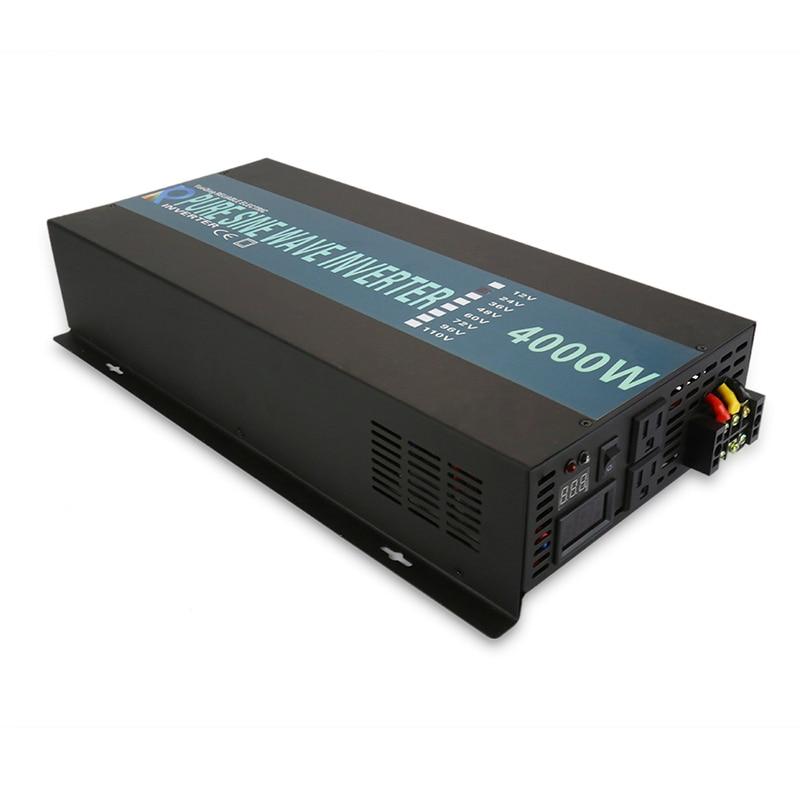 4000W Pure Sine Wave Power Inverter 24V 220V Solar Panel Inverter DC to AC Converter Power Supply 12V/48V/96V to 120V/230V/240V