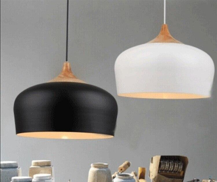 Бесплатная доставка современный подвесной светильник дуб лампа E27 разъем дерево патрон висит свет белый черный дополнительно 300 мм/350 мм