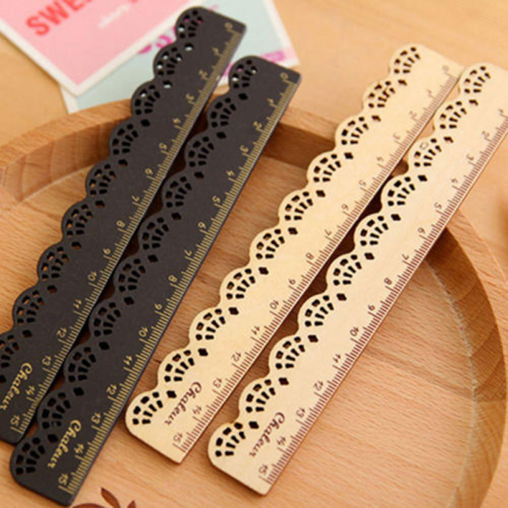 1 Pc  Vintage Sweet Lace Sculpture Brown Wood Ruler Retro Black Ruler For Kid Gift Office School Supply Cute Stationery Rulers