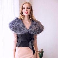New Style Fashion Women Female Outwear Bow Coat Jacket Leather Faux Fur Waistcoat Vest Gilet Outwear Cardigan For Women #20