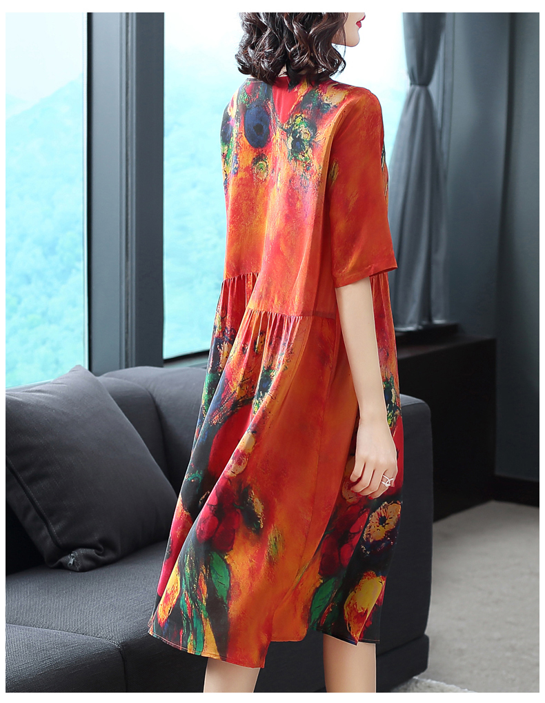 2020 New Arrival Women Silk Dress Female Summer Half Sleeve V-Neck Vintage Print Dresses Loose Casual Plus Size Vestidos Mujer