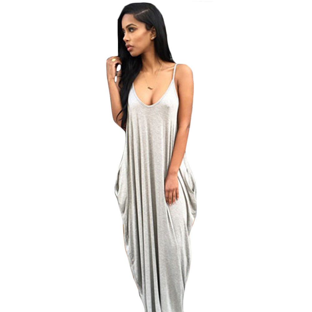 Accessories Funny Loose Maxi Dresses Luxury Personality Sling White Orange V Neck Pocket Big Swing Cute