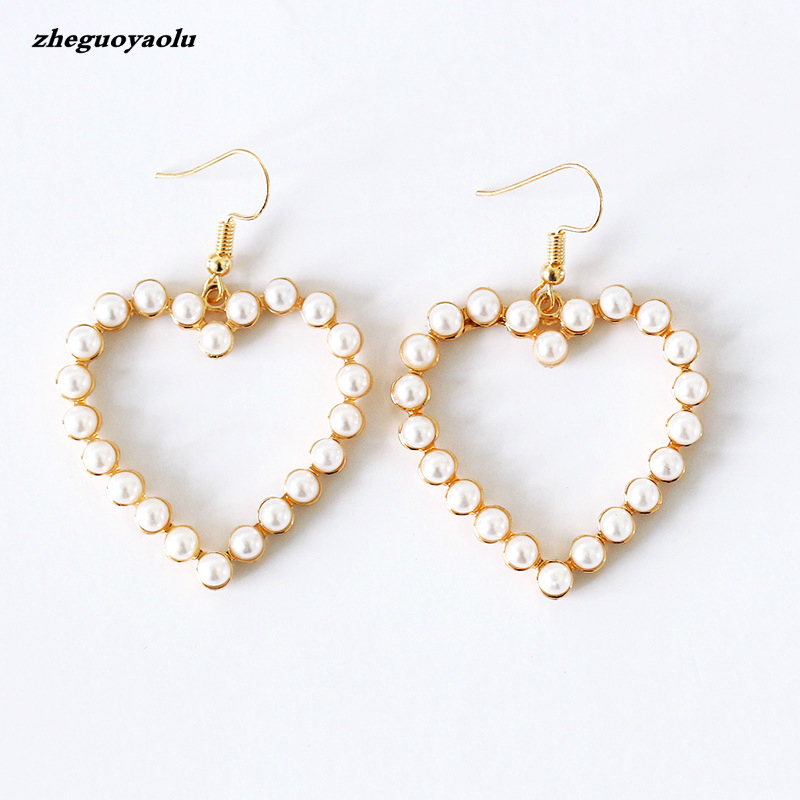 Simple Fashion Jewelry Peach Heart Pearl Dangle Drop Earrings Female Love Earrings Boucle Doreille Femme 2017