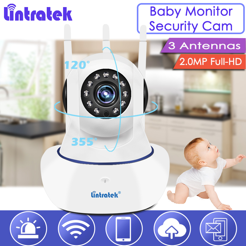 Lintratek Russia Wireless wifi IP Camera 1080P Full-HD 3 Antennas Home Dome Security Camera Pet Baby Monitor cctv Nanny 2MP S47 цена
