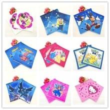 20pc Napkin Batman Mickey Minnie mouse Six Princess Pikachu Spiderman Minions Sofia Smiling Party Supplies Paper