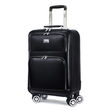 men retro Genuine cow Leather cabin trolley suitcase spinner brand carry on women business travel bag rolling luggage on wheels