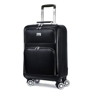 Image 1 - men retro Genuine cow Leather cabin trolley suitcase spinner brand carry on women business travel bag rolling luggage on wheels