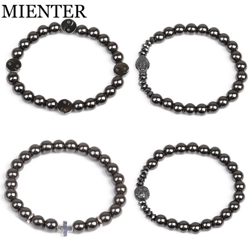 Yin Yang Gossip Lion head Buddha cross sport Fitness Hematite bracelet for men women CZ Set