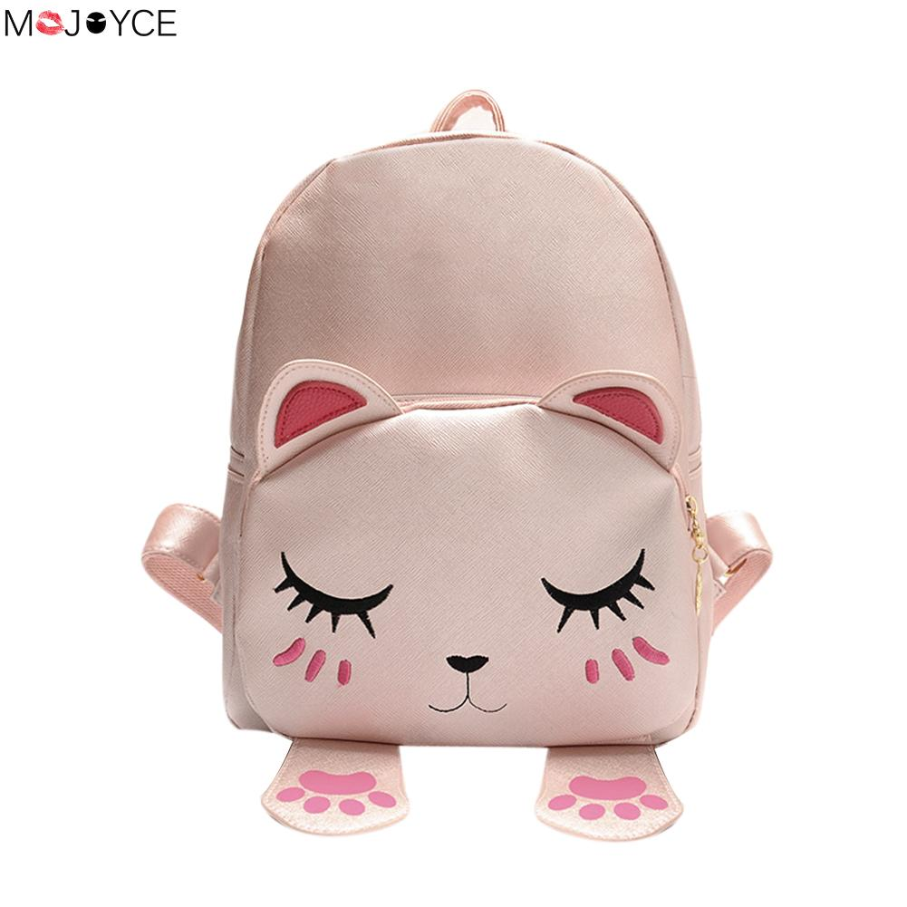 Cartoon Mini School Bags for Teenage Girls Lovely PU Leather Backpack Mini Travel Rucksack Mochila Bolsas