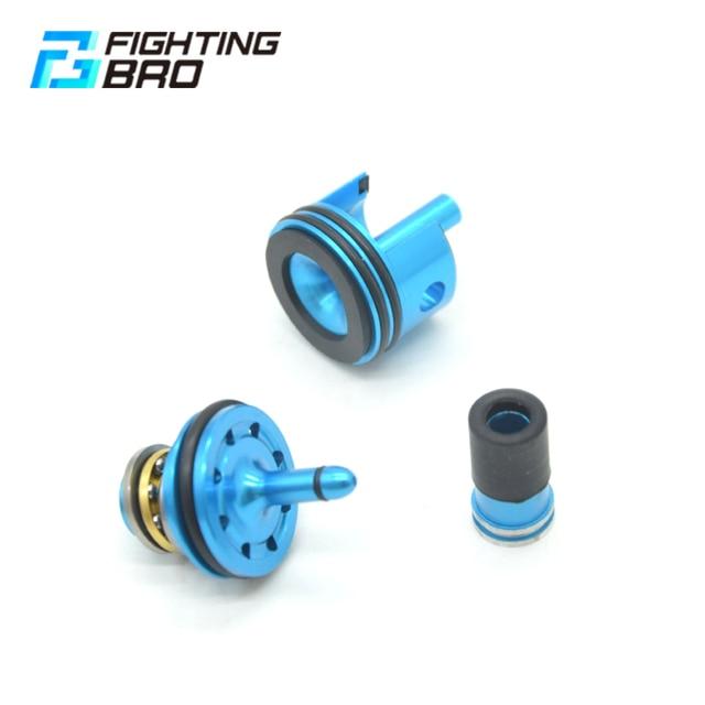 FightingBro 8Holes Piston Head Silence Air Nozzle Cylinder Head For Ver.2 M4 Airsoft AEG Split Gel Gearbox Jinming8 Jinming9
