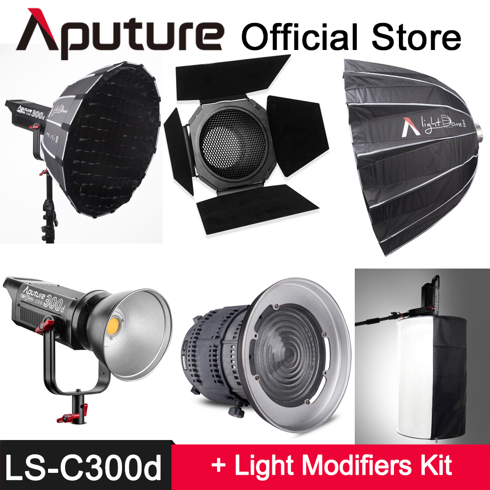 Aputure LS C300d + Light dome mini II / Fresnel Mount / Light Space Kit TLCI 96+ COB LED light Bowens Mount Outdoor Studio Light aputure ls mini 20 3 light kit two mini 20d and one mini 20c led fresnel light tlci cri 96 40000lux 0 5m 3 light stand case