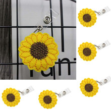 5Pc Sunflower Stretchable Pull Buckle Keychain ID Buckle Telescopic Keychain Retracting Clip Anti-lost Pull Buckle