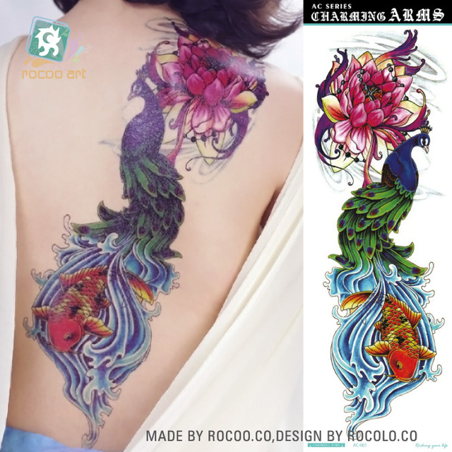 AC-001/Beauty Super Big Full Arm Back Temporary Body Tattoo stickers For Women Fake Peacock Flower Fish Tattoo Designs