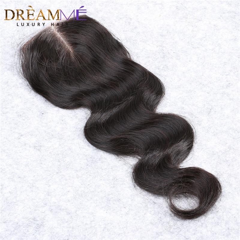 Brasilianske body wave snøre lukning gratis del remy hår lukning - Menneskehår (sort) - Foto 4