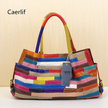 Caerlif New 2016 Women leisure Handbags Shoulder Crossbody Bags Genuine Leather Bag Bolsas ladies tote bag colorful stripe bag