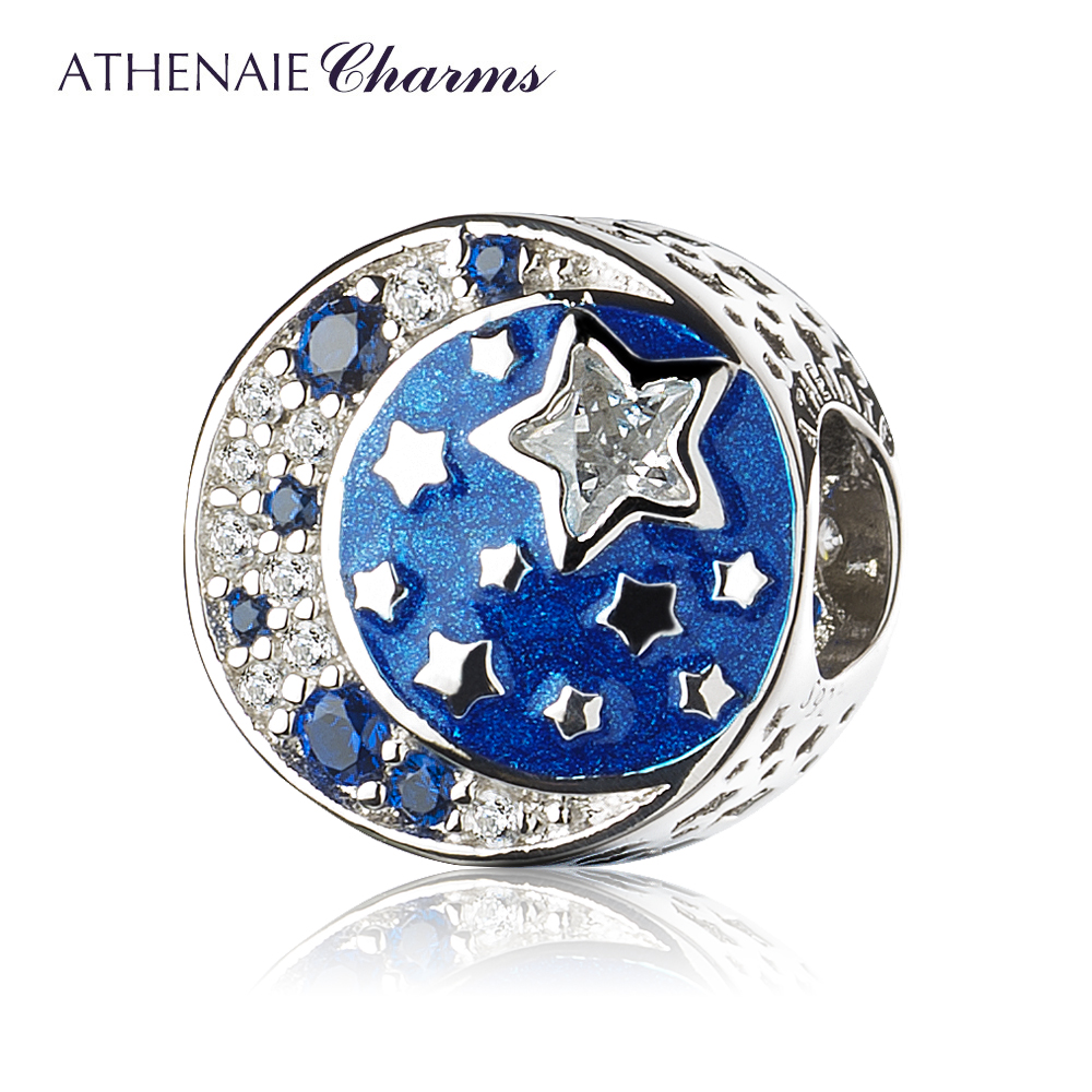 ATHENAIE 925 Sterling Silver I Love You to The Moon and Back Shimmering Midnight Blue Enamel Charms Beads Christmas Present
