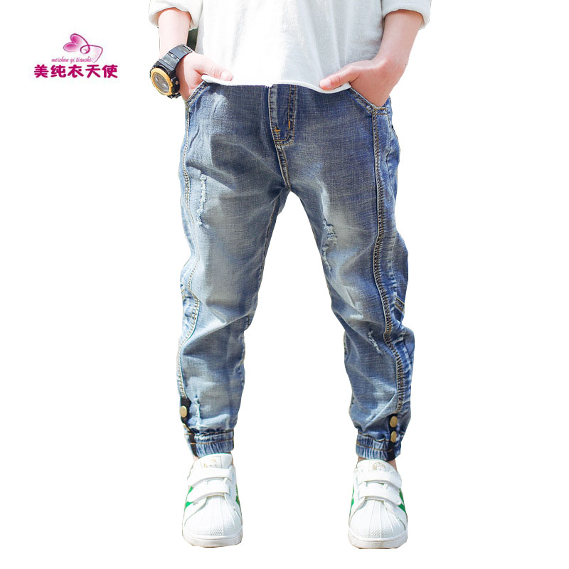 Boys Jeans Full Length Denim Pants 2017 Spring Autumn Fashion Boys Pants Casual Kids Clothes 4 6 8 10 12 Years Children Clothing men jeans 2017 new fashion full length solid skinny jeans men brand designer clothing denim pants luxury casual trousers male