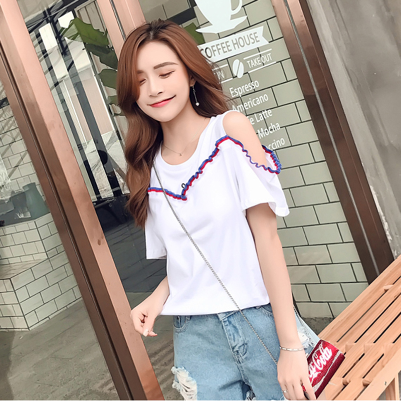 Embroidery Cotton T shirt O Neck Fashion Short Sleeve White Tees 2018 Summer Women Casual Brand Off The Shoulder Ladies Tops
