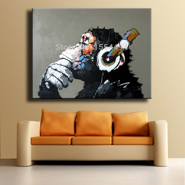 Framed Hand Painted Large Canvas Oil Painting Cartoon Animal Gorilla Monkey  Headphones Music Wall Art Childrenu0027s Room Decor
